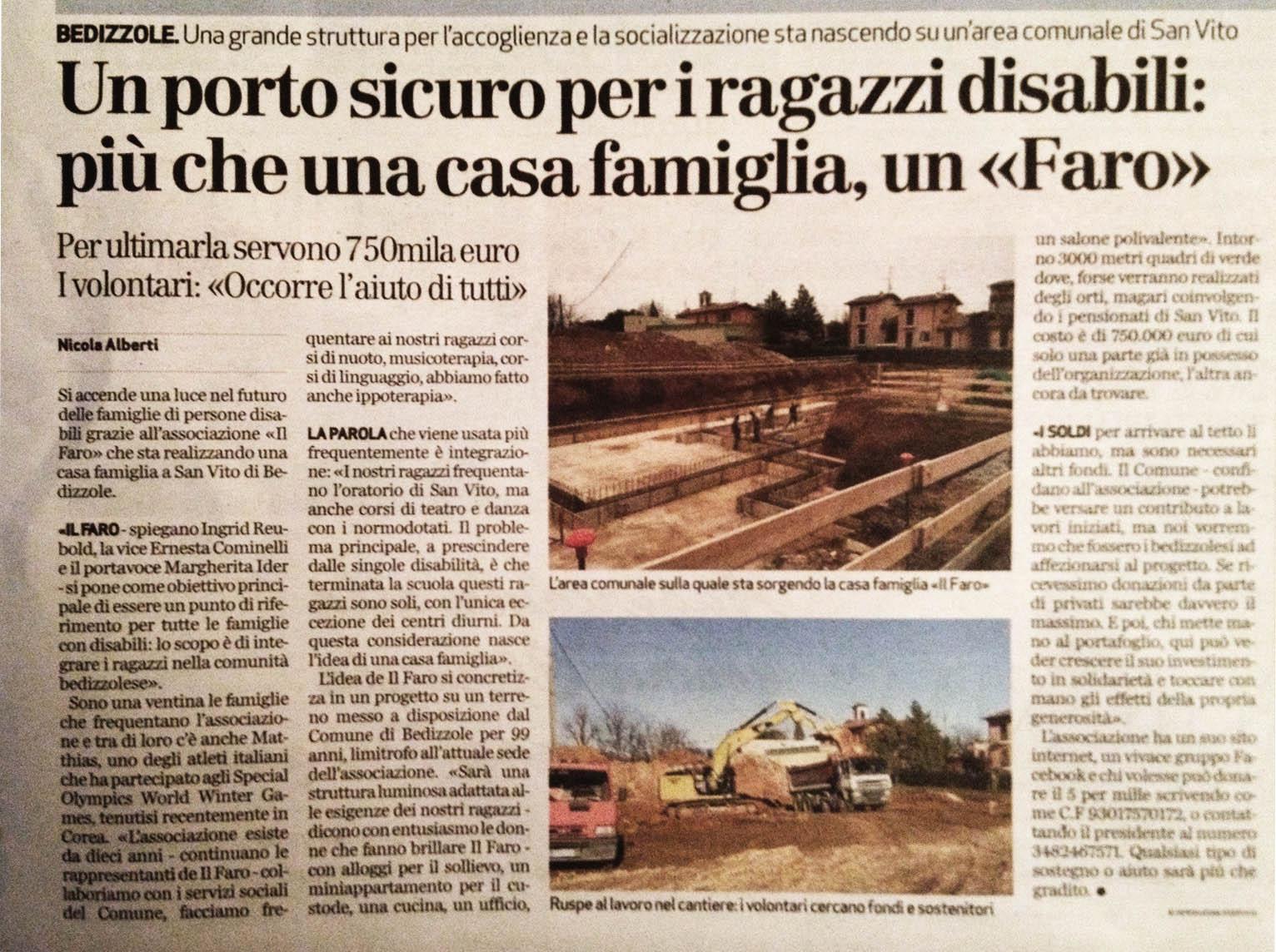 Articolo del giornale Bresciaoggi